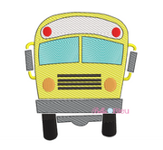 Sketchy School Bus Machine Embroidery Design