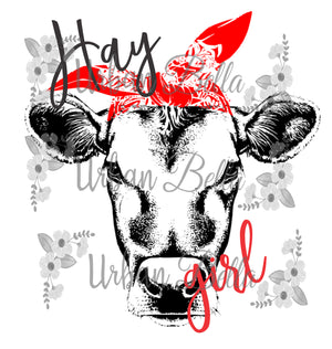 Hay Girl Cow with Bandana Sublimation png file