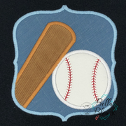 Softball Baseball Bat Ball Frame Machine Applique Embroidery Design