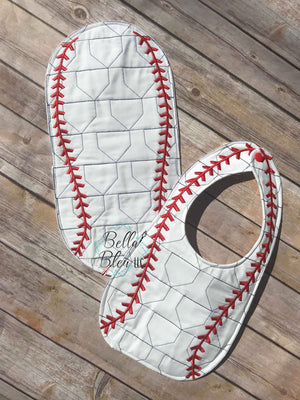 ITH In The hoop Baseball or Softball Burp with home plate stipple quilting machine embroidery design