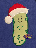 Christmas Pickle with Santa Hat Machine Applique Embroidery Design