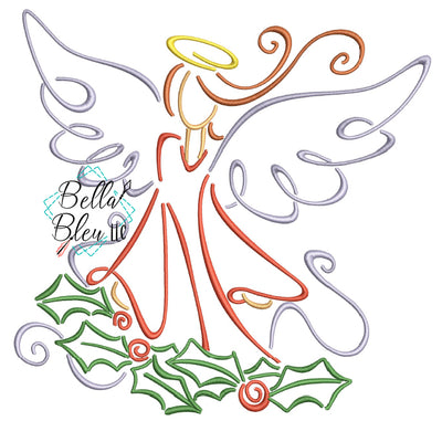 Christmas Angel Satin Swirl Machine Embroidery Design