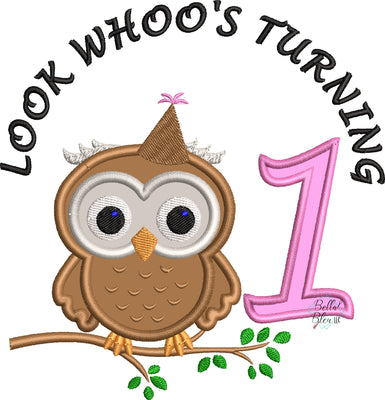 Baby Owl Who's Turning One First Birthday Machine Applique Embroidery Design