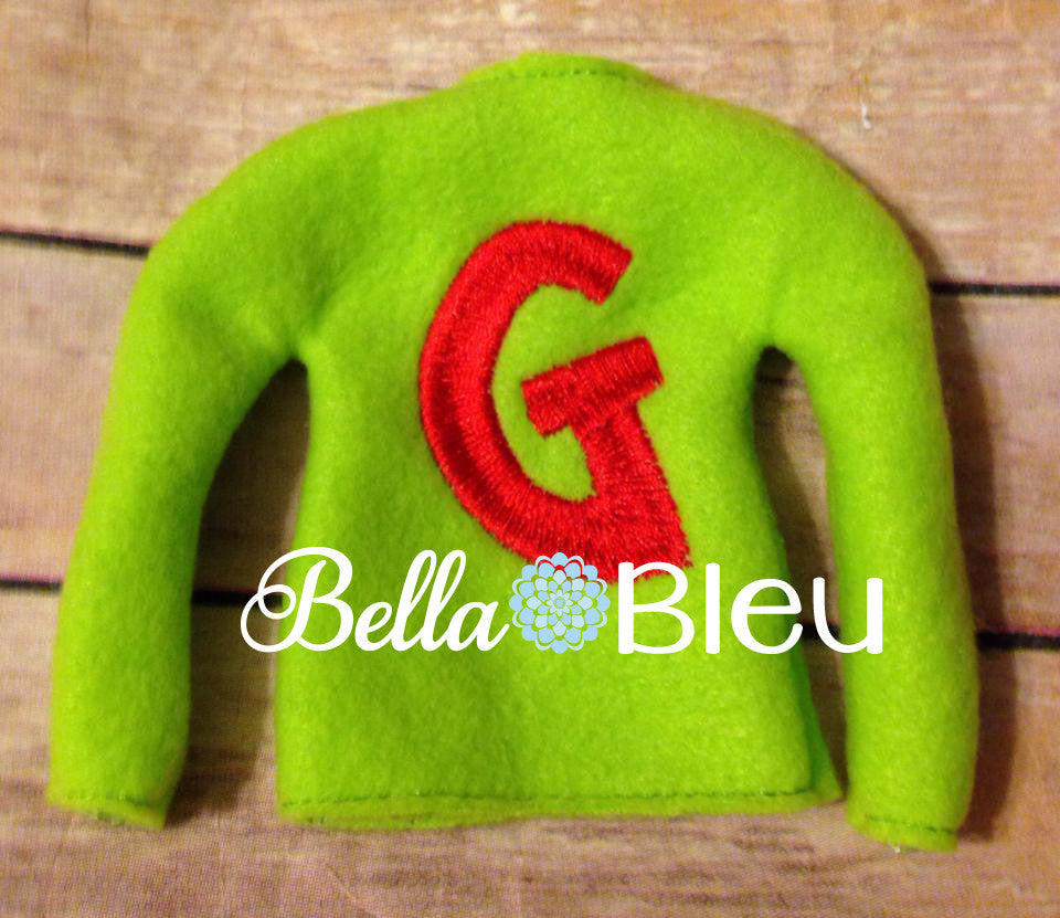 ITH In The Hoop Elf Grinchy Alphabet Sweater Shirt Machine Embroidery Design, Christmas Embroidery