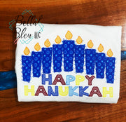 Hanukkah Jewish Menorah Applique Sketchy