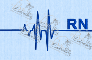 EKG Heartbeat heart beat of a RN fill machine Embroidery Design