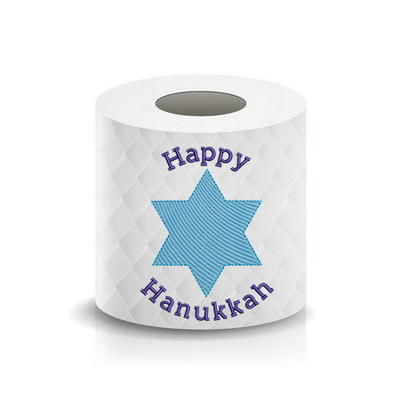 Happy Hanukkah Star of David Toilet Paper  Machine Embroidery Design sketchy