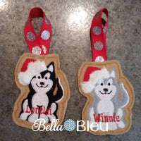 ITH Christmas Santa Husky Sled dog Ornament Machine Applique Embroidery Design