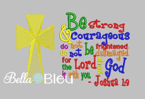 Joshua 1:9 Religious Saying Machine Embroidery Design