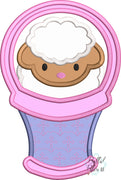 Easter Lamb Sheep in Basket Applique Machine Embroidery design