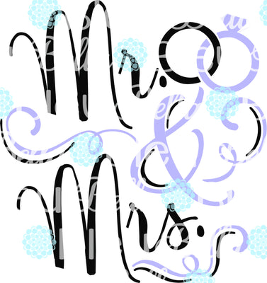 Mr & Mrs Wedding Rings Wedding SVG Cuttable File Saying Wording Vinyl