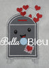 Valentines Mailbox with Love Letters Machine Applique Embroidery Design