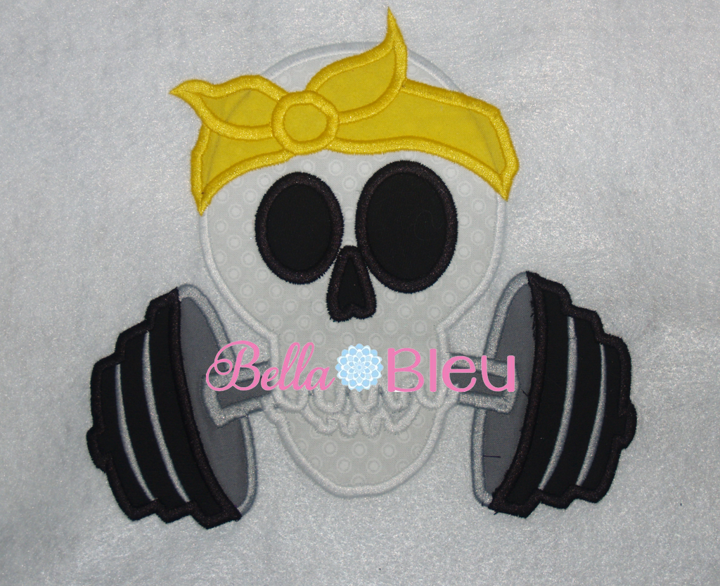 Exclusive Retro Skull Lifting Weights Machine Applique Embroidery Design