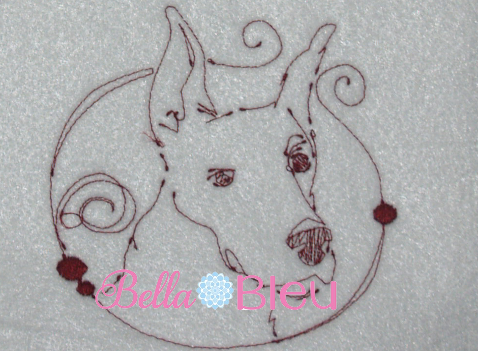 Redwork Dog 4 Machine Embroidery Design