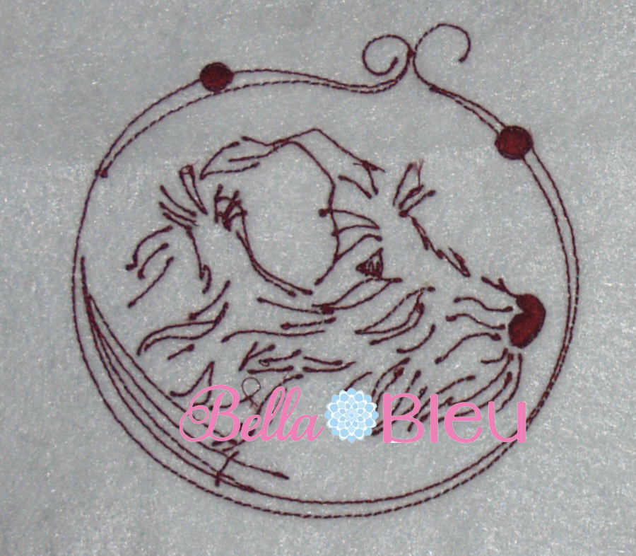 Dog Puppy Beautiful  Redwork machine embroidery quick stitch design