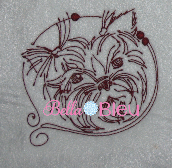 Yorkie Dog Quick Stitch Machine Redwork embroidery design