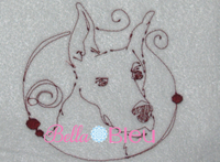 Great Dane Dog quick stitch machine redwork embroidery design