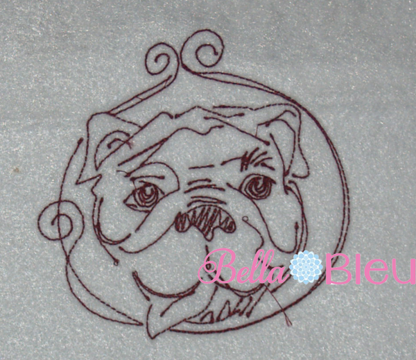 Redwork Bulldog Dog 2 Machine Embroidery Design