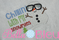 Chillin with My Snowmies Winter Snowman Machine Embroidery Design