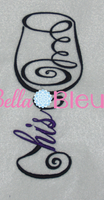 His Wedding Wine Glass Machine Embroidery design