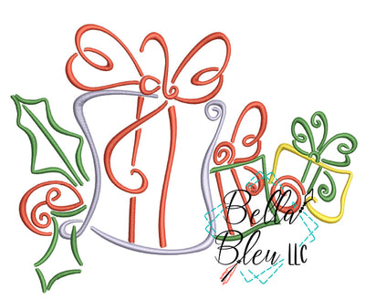 Christmas Packages Swirl Machine Embroidery Design