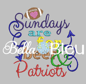 Sundays are for beer and Patriots football machine embroidery design