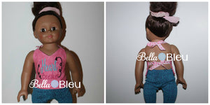 "ITH In the Hoop Girl Doll 18"" Doll Halter top shirt"
