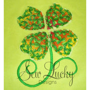 Raggy Four leaf clover bean stitch applique