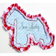 Raggy Miniature Schnauzer Dog bean stitch applique