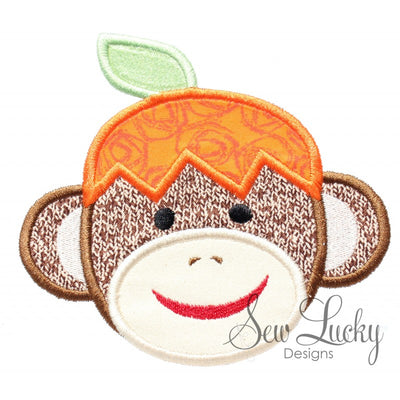 Fall Sock Monkey with Pumpkin hat Applique
