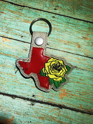 ITH in the hoop bean stitch Texas with Rose State Key Fob Filled and Bean machine embroidery