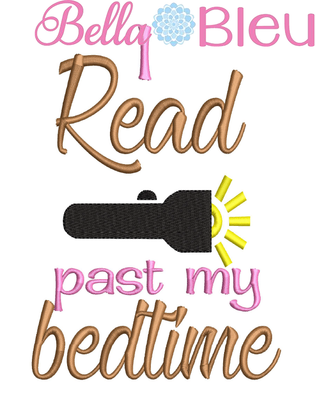 I read past my bedtime reading book pillow quote 3 sizes machine embroidery design