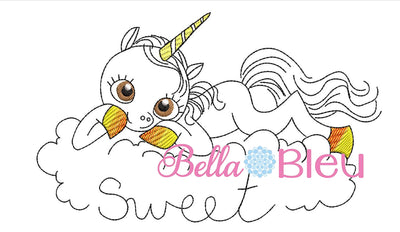 Sweet Cloud Unicorn Sketchy Machine Embroidery Design