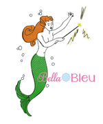 Retro Rockabilly Mermaid Sketchy Filled Machine Embroidery design