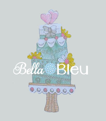 Sketchy Wedding Cake Exclusive to BBE Machine Embroidery Design