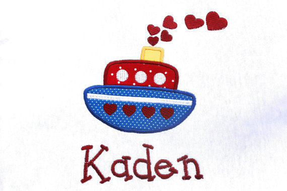 Valentine Tug Boat Applique Embroidery Designs Design Monogram