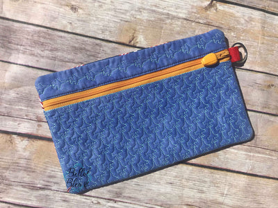 In the Hoop Zipper Wallet Airplane Stipple