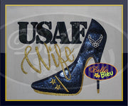 Sexy Armed Forces Airforce Stiletto Heels Applique Embroidery Designs Design