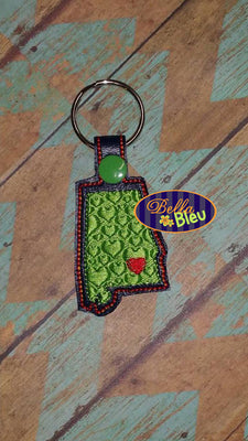 ITH Alabama State Filled Key fob Machine embroidery design