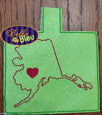 ITH In the hoop Alaska State Key Luggage tag keyfob machine embroidery design