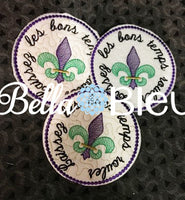 ITH In The Hoop Mardi Gras fleur de lis Wine Glass Coaster Let the Good Times Roll