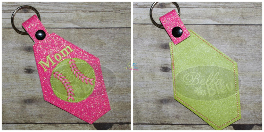 ITH in the hoop Baseball Softball key fob luggage tag machine embroidery design