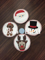 ITH In the Hoop Christmas Coaster Set Santa, Gingerbread girl, snowman and reindeer Set of 4