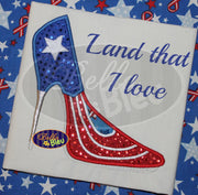 Sexy American Flag 4th of July  Stiletto Heel Heels Applique Embroidery Designs Design Monogram