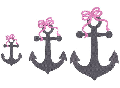Anchor with Bow Fill Embroidery Design