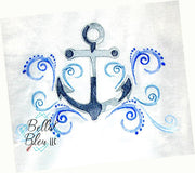 Nautical Sketchy Anchor Waves Machine Embroidery design