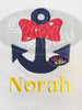 Nautical Anchor with Bow Applique Embroidery Designs Design Monogram