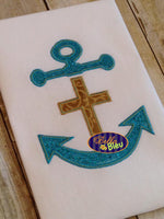 Nautical Anchor with Cross Applique Embroidery Designs Design Monogram