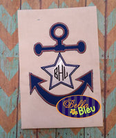 Nautical Anchor with Star Applique Embroidery Designs Design Monogram
