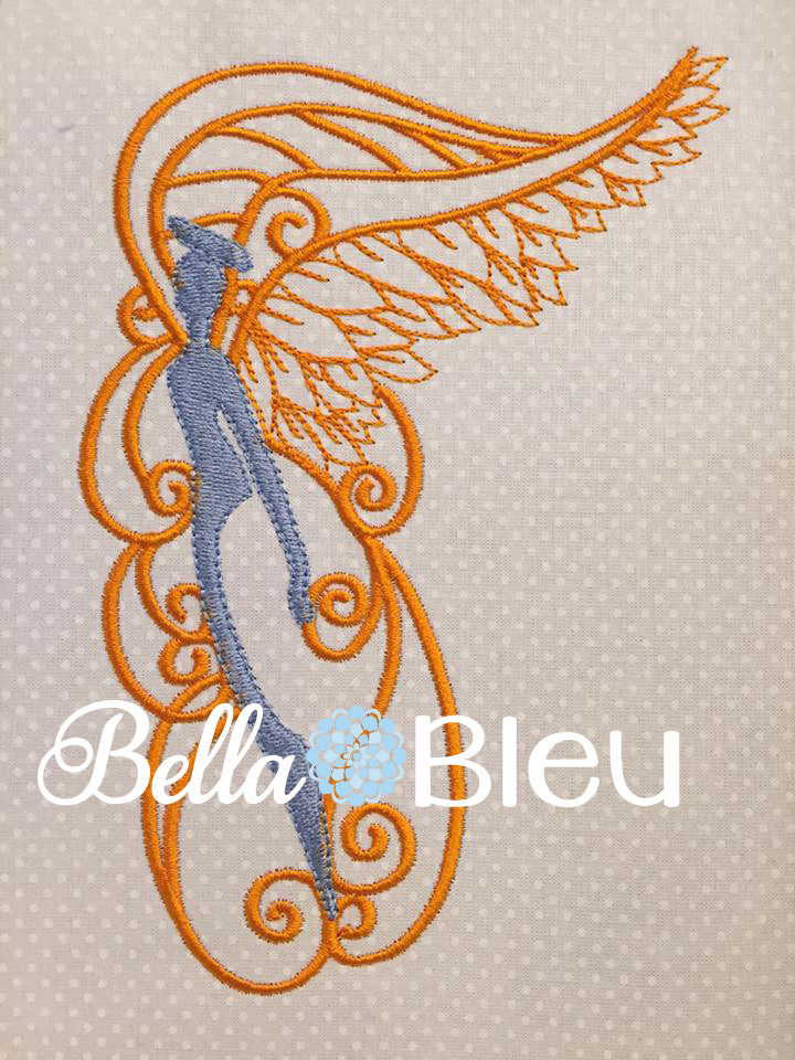 Beautiful Swirly Angel with Wings Machine Embroidery Design